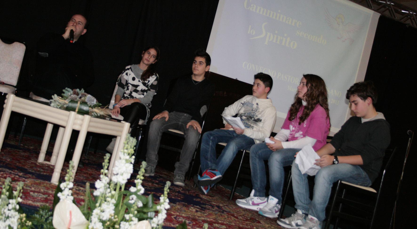 Vito Piccinonna e i ragazzi durante il talk-show