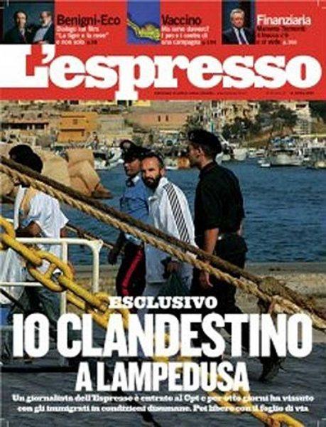 La copertina de L'Espresso del 2005, il numero nel quale Fabrizio Gatti racconta la sua testimonianza da clandestino.