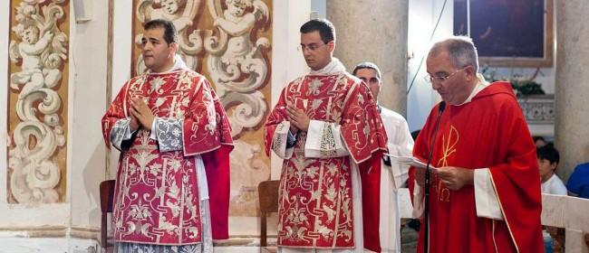 Don Antonino Gucciardi e don Davide Chirco, presentati dal rettore del Seminario, don Francesco Fiorino. (foto Cusumano)