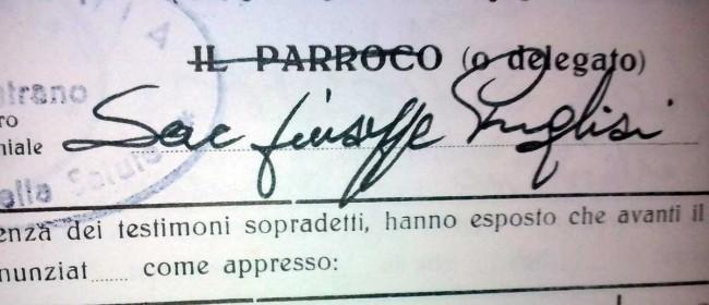 La firma di don Pino Puglisi nel registro dei matrimoni presso la parrocchia Maria Ss. della Salute a Castelvetrano.