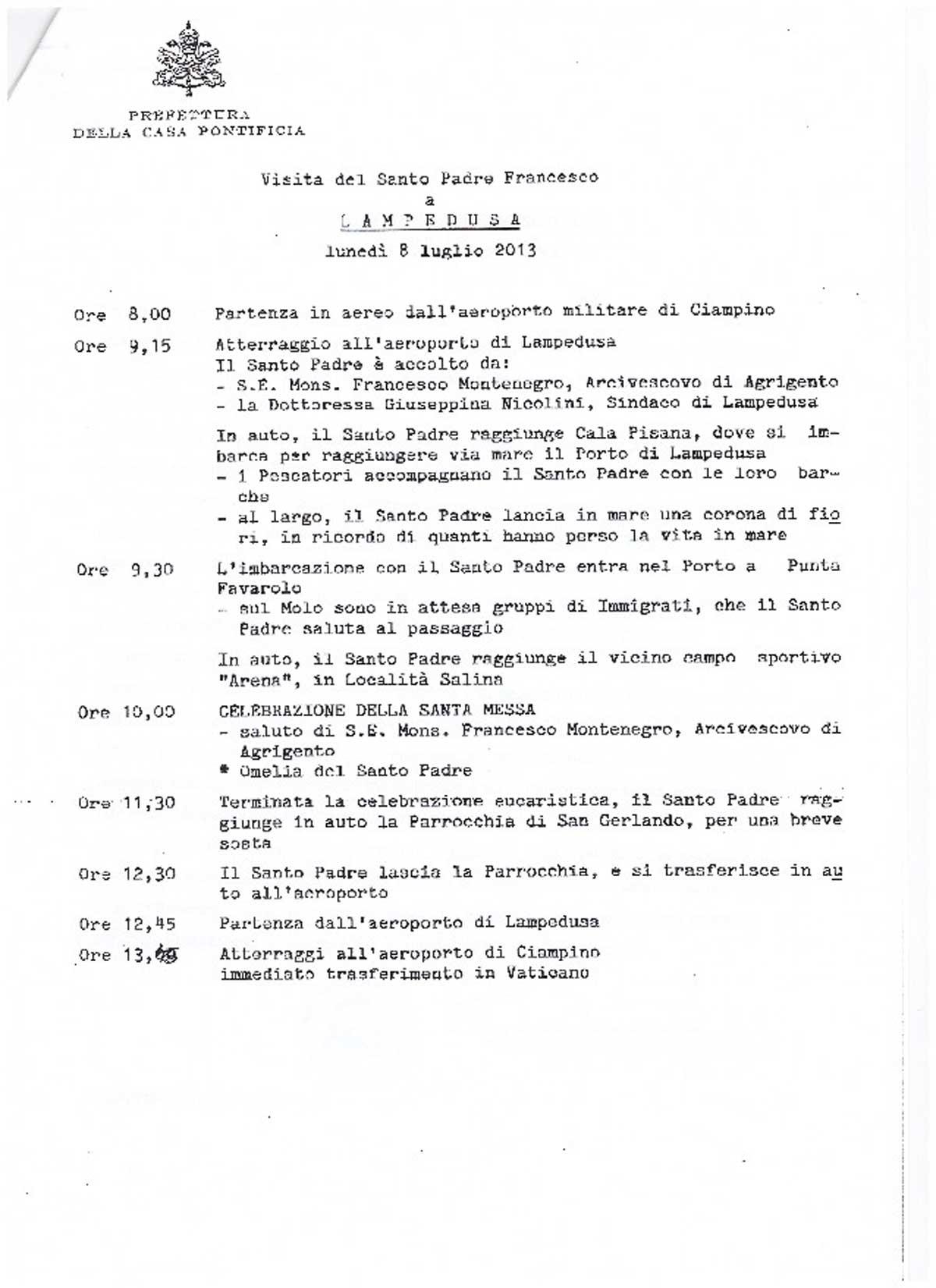 La visita l 39 annuncio a sorpresa luned il papa sar a for Pdf del programma della casa