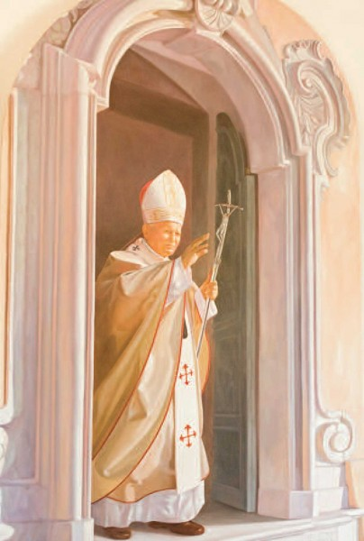 Il quadro realizzato da Burney e che raffigura Papa Giovanni Paolo II.