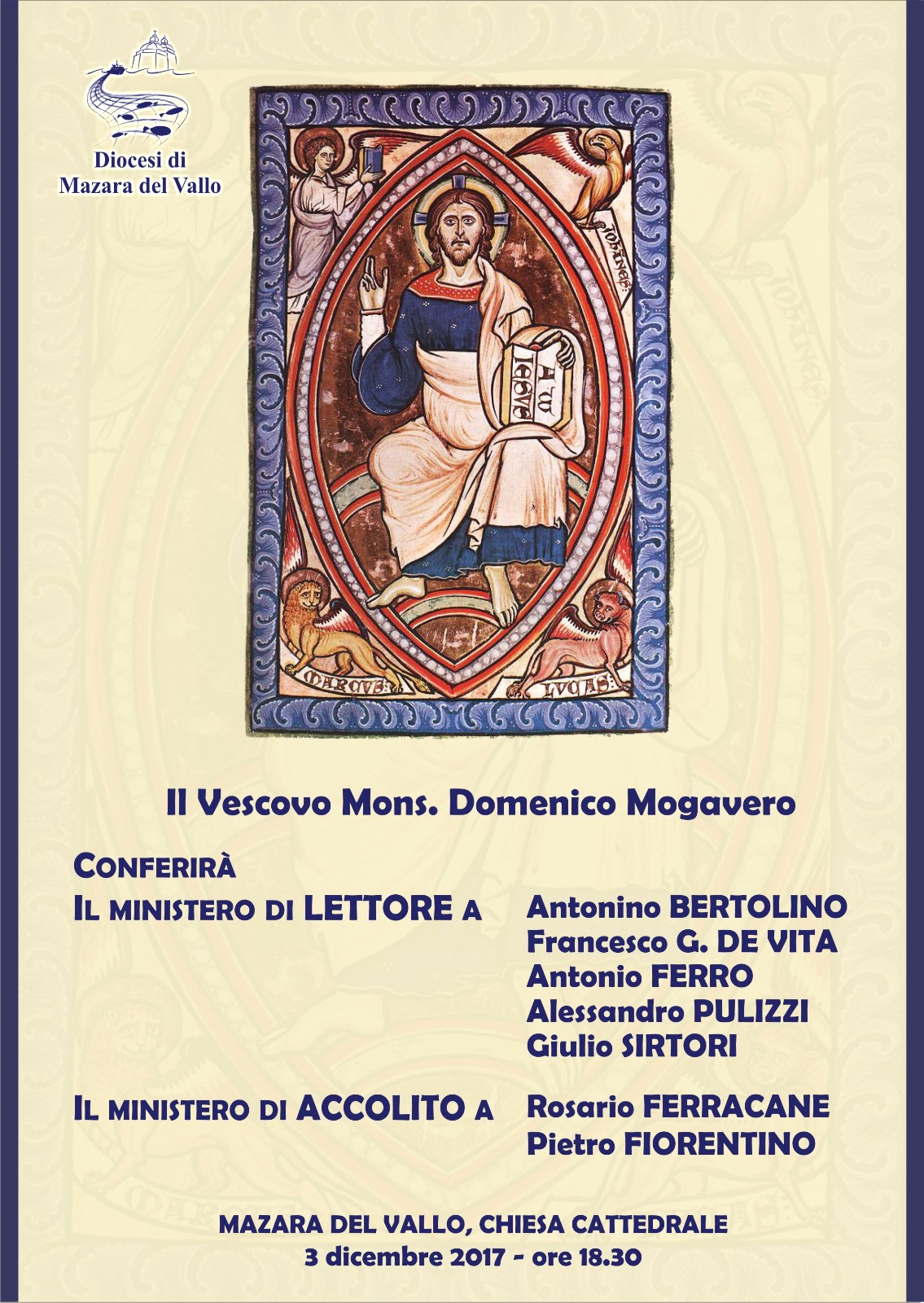 Mazara del Vallo, Lettorato e Accolitato a sette laici - Diocesi Mazara del  Vallo