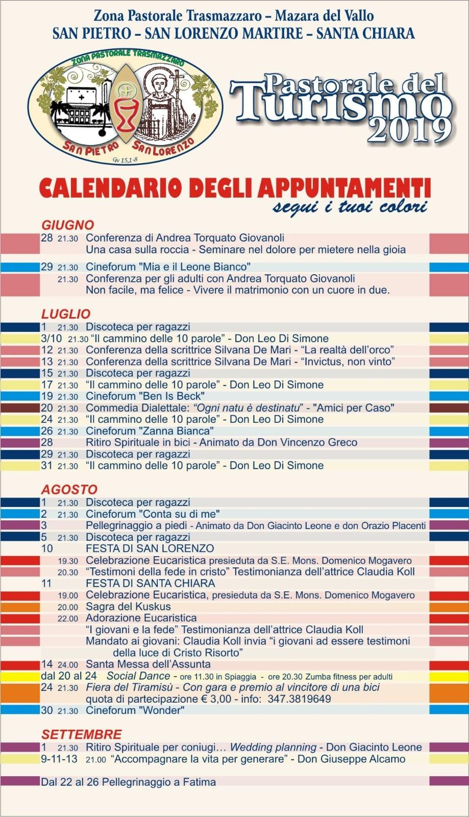 Calendario Comunioni 2020.Agenda Diocesi Mazara Del Vallo